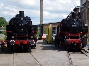 A guest BR86 visits the BR86 at Süddeutsches Eisenbahnmuseum